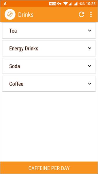 5 mejores aplicaciones de la calculadora de consumo de cafeína en Android 5