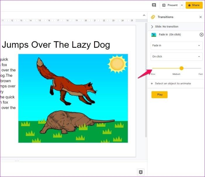 Cómo añadir animaciones en Google Slides 11