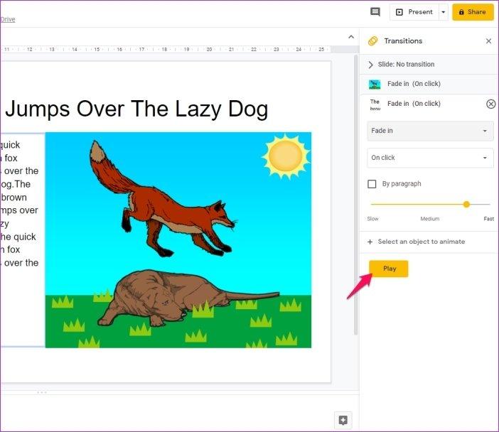 Cómo añadir animaciones en Google Slides 12
