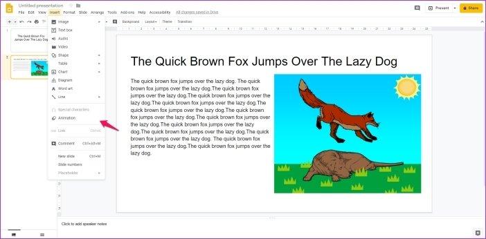 Cómo añadir animaciones en Google Slides 5
