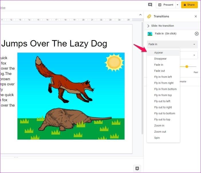 Cómo añadir animaciones en Google Slides 9