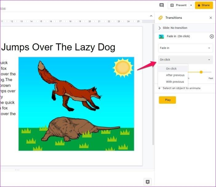 Cómo añadir animaciones en Google Slides 10
