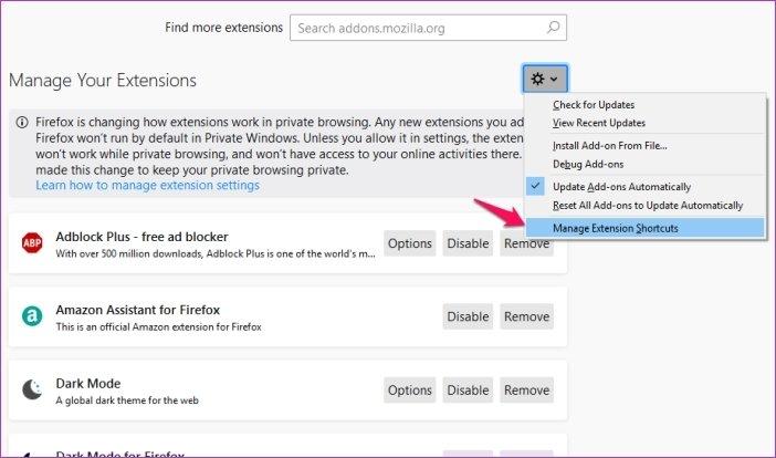 Cómo personalizar los atajos de teclado en Firefox 67 14