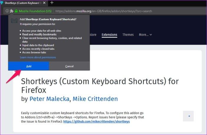 Cómo personalizar los atajos de teclado en Firefox 67 4