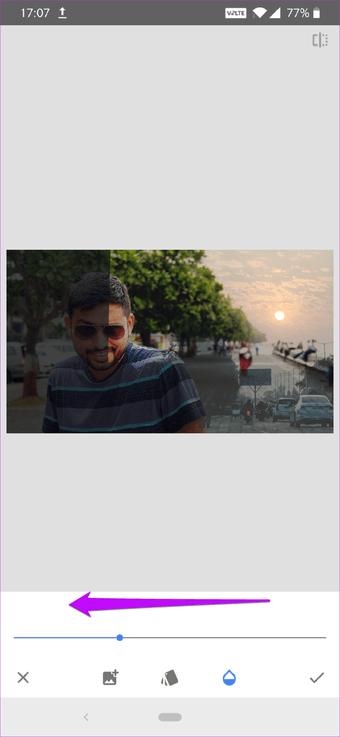 Cómo corregir el cielo sobreexpuesto en fotos usando Snapseed 14