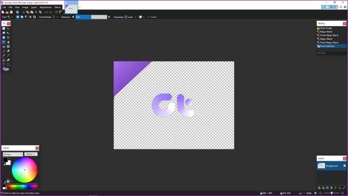 Cómo hacer que el fondo sea transparente en Paint.net 5