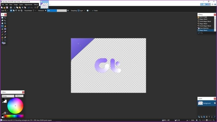 Cómo hacer que el fondo sea transparente en Paint.net 6