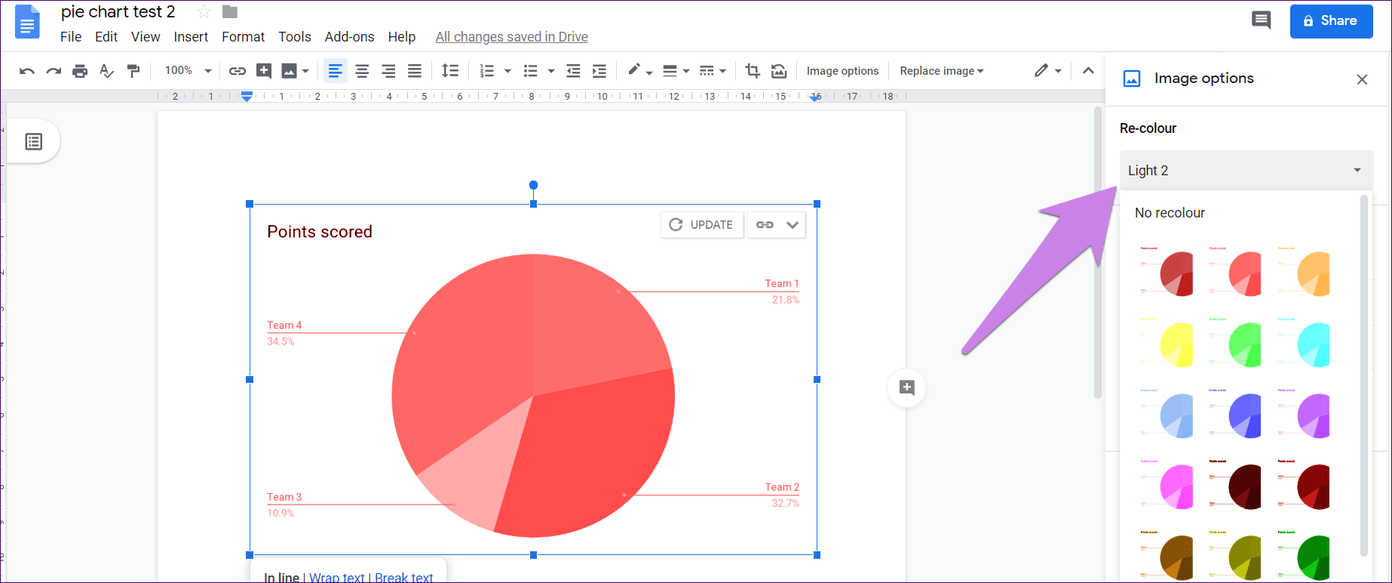 Cómo poner Pie Chart en Google Docs y 9 maneras de personalizarlo 18