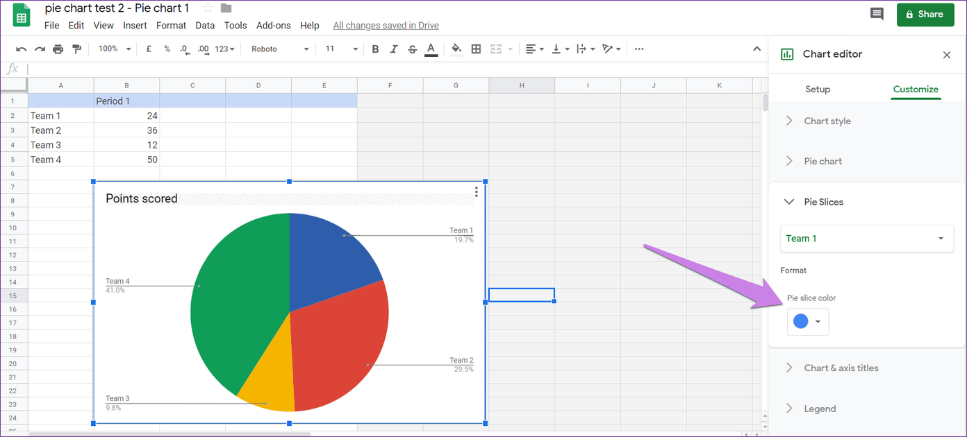 Cómo poner Pie Chart en Google Docs y 9 maneras de personalizarlo 11