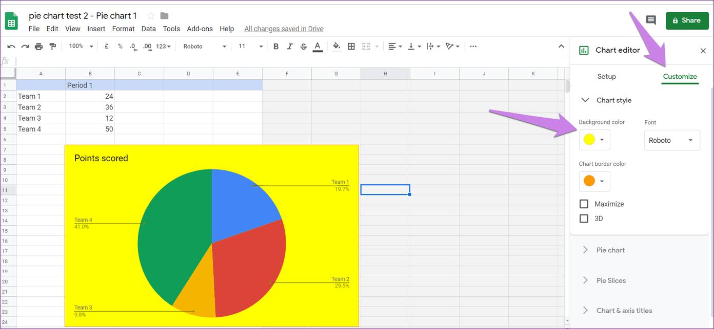 Cómo poner Pie Chart en Google Docs y 9 maneras de personalizarlo 12