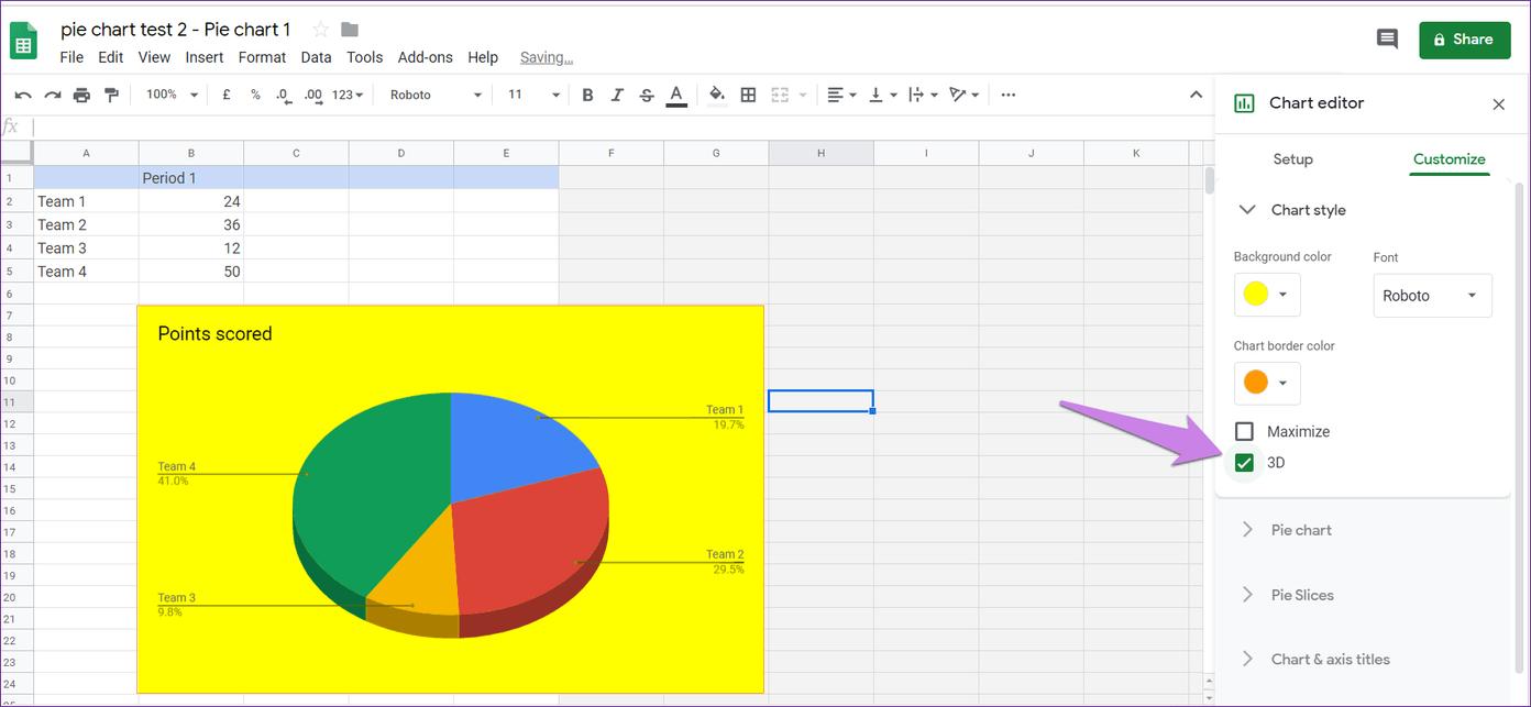 Cómo poner Pie Chart en Google Docs y 9 maneras de personalizarlo 13