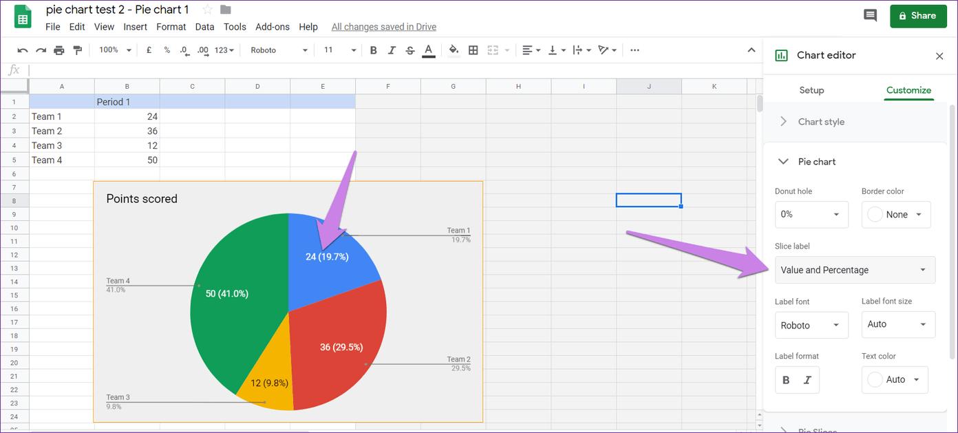 Cómo poner Pie Chart en Google Docs y 9 maneras de personalizarlo 14