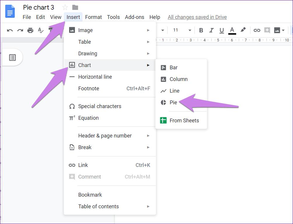 Cómo poner Pie Chart en Google Docs y 9 maneras de personalizarlo 2