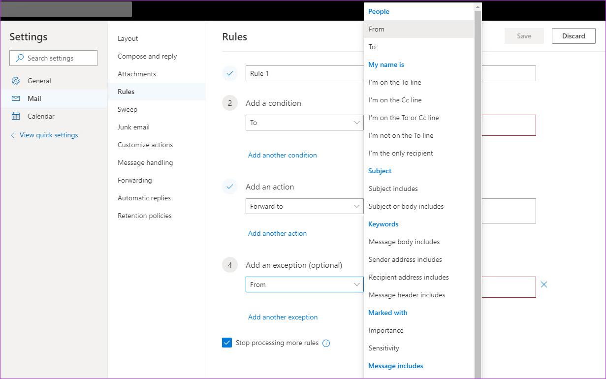 Cómo crear y administrar reglas en el correo web de Outlook 365 7