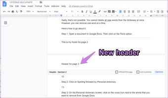 Cómo crear un encabezado y un pie de página diferentes para cada página de Google Docs 6