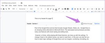 Cómo crear un encabezado y un pie de página diferentes para cada página de Google Docs 10