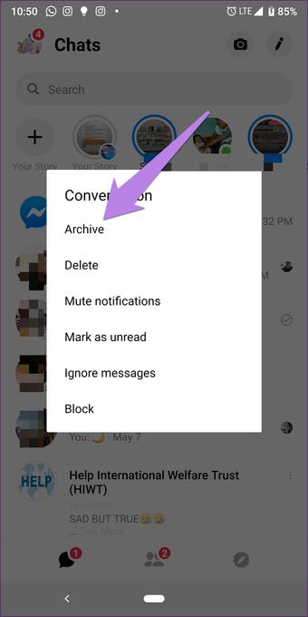 Facebook Messenger Eliminar vs. Archivar: Cuál usar 7