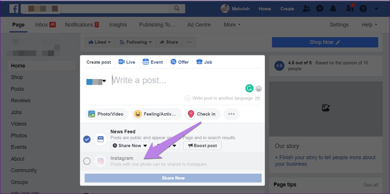 Cómo publicar de Facebook a Instagram al mismo tiempo 8